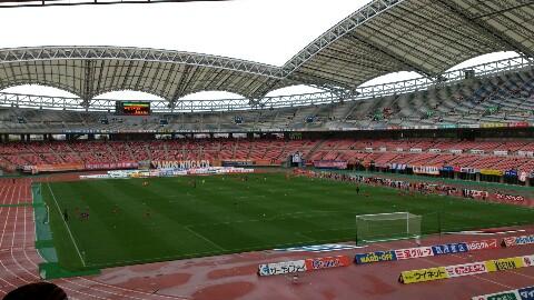 新潟戦、試合前、寒い